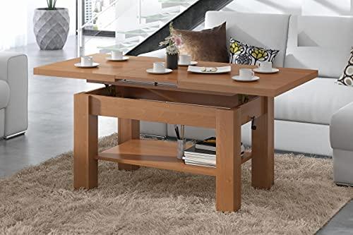 Design Couchtisch Tisch Astoria Erle stufenlos höhenverstellbar 57-69cm ausziehbar 110-150cm mit Ablagefläche Esstisch