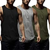 Coofandy Mens Tank Tops 3 Pack Gym Workout Sports Vest Fitness Muscle Bodybuilding Sleeveless T-Shirt, L, Black/Medium Grey/Army Green