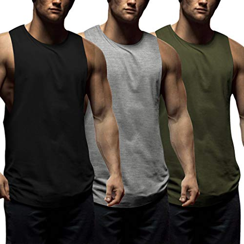 COOFANDY Mens Workout Tank Tops 3 Pack Sleeveless Shirts Gym Bodybuilding Muscle Tee Shirts (Small, Black/Navy Blue/Light Grey