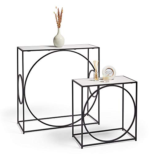 BTFY Console Table Set of 2 - White & Black Marble Nesting Tables, Multifunctional Side Tables with Iron Legs For Living Room, Hallway