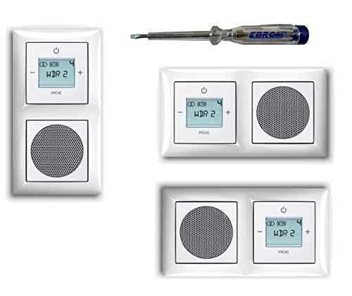 Busch Jäger Unterputz UP Digitalradio 8215 U (8215U) Komplettset, Balance SI alpinweiß 1722-914 - Lautsprecher + Radio + Abdeckungen + 2 fach Rahmen – inkl. EBROM Phasenprüfer zur Montage der Geräte