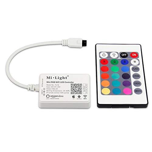 Contrôleur WiFi piloté pour bande LED RVB compatible avec Alexa® avec télécommande infrarouge pour smartphone Android et iOS YL1S