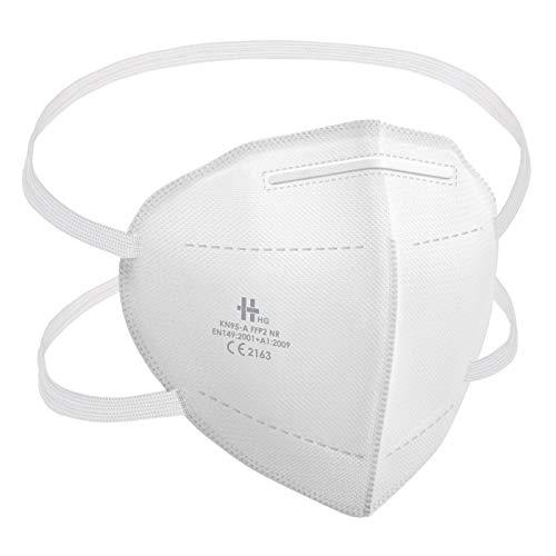 LCP Hairproducts 20 Stück FFP2 Masken Hinterkopf Gummiband Halterung Atemschutzmasken EN149:2001 u. CE 2163 Zertifiziert, Faltbar, Passgenau
