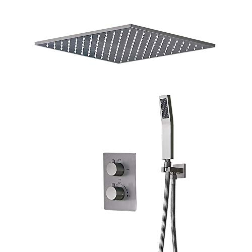 JiaYouJia Thermostatic Shower Faucet Flush Mount Rain Shower System with Hand Shower Square Rainfall...
