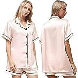 Ladieshow Pijamas Satén Mujer, Pijama Mujer Seda Manga Corta Conjunto de Pijamas Verano para Mujer, Camisón para Mujer 2 Piezas Ropa de Dormir con Botones Suave y Cómodo