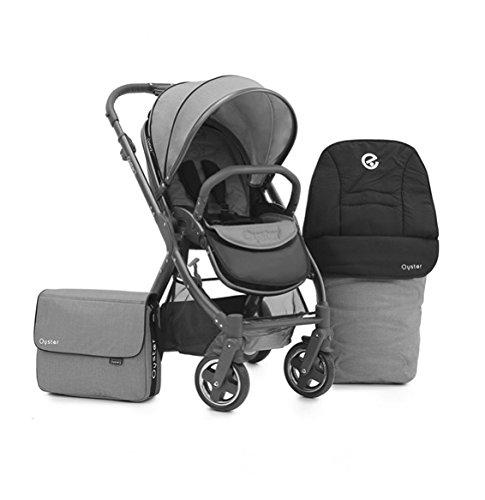 Oyster 2 Kinderwagen, Fußsack & Wechsel Tasche, geeignet ab Geburt bis zu 15kgs - Sonderedition Stadt Grau