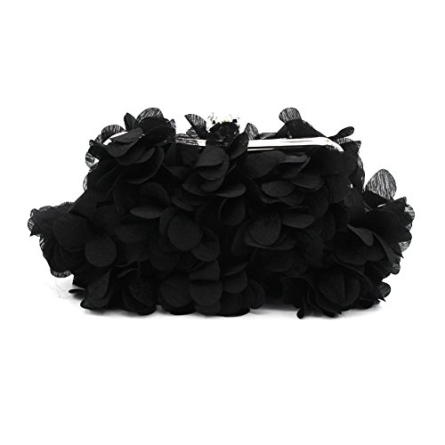 Kingluck Flower Design Satin and Silk Women Wedding Brial Clutch Bag/evening Handbags(more Colors) (black)