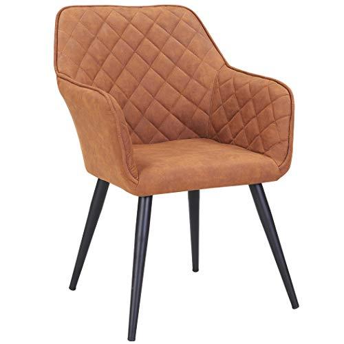 Duhome Esszimmerstuhl aus Stoff (Samt) Farbauswahl Retro Design Armlehnstuhl Stuhl mit Rückenlehne Sessel Metallbeine 8058, Farbe:Orange-Braun, Material:Lederoptik
