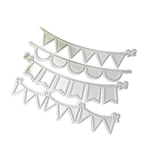 RIsxffp 4 Unids/Set Triángulo Círculo Banners Troqueles de Corte de Metal Plantillas de Scrapbooking DIY Silver