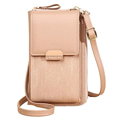 Women Phone Shoulder Bag Purse, Crossbody Cellphone Pouch Bag, Multi-Functional Wallet Case with Strap Card Slots, Fit 8 Plus or Phone Less 6.5 Inch,Apricot