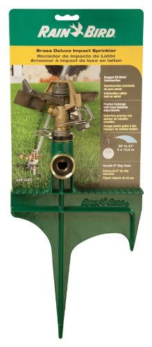 Rain Bird 25PJLSP Hose-End Brass Impact Sprinkler on Large Spike, Adjustable 20° - 360° Pattern,...