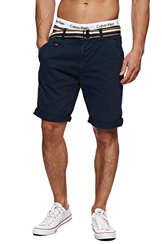 Indicode Herren Cuba Chino Shorts mit 5 Taschen inkl. Gürtel aus 100% Baumwolle | Kurze Hose Regular Fit Bermudas Sommerhose Herrenshorts Short Men Pants Chinohose für Männer Blau Navy XL