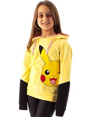 Pokemon Sudadera con Capucha de para niñas Pikachu suéter Amarillo con Capucha 5-6 años