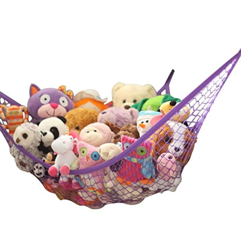 MiniOwls Toy Storage Hammock - Hanging Net for Stuffed Animals or Playroom Organization. Decorative Wall Corner Toy Storage for Kids Room (Purple, L)