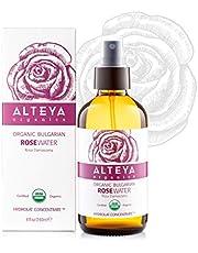 Alteya Organic Rozenwater Bio Glazen Flessenspray 240ml - 100% USDA biologisch gecertificeerd puur authentiek natuurlijk 'Rosa Damascena' bloesemwater, stoom gedistilleerd en rechtstreeks vervaardigd en verkocht door de rozenkweker Alteya Organics.