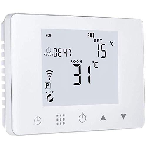 PATABIT Alexa - Termostato de ambiente con calefacción wifi | Cronotermostato inteligente con pantalla táctil de pared, montaje en caja empotrada 503, alimentación 220 V