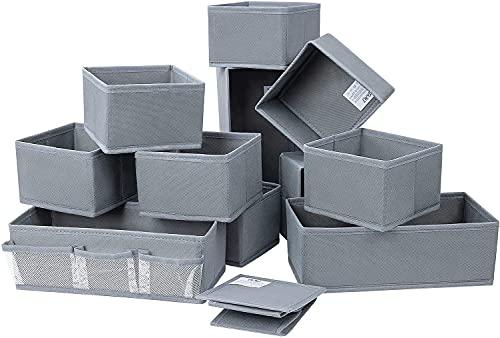 DIMJ 12 cajas de almacenamiento para calcetines, ropa interior, plegables, de tela, para armario, mesas, cajones, sistema de organización