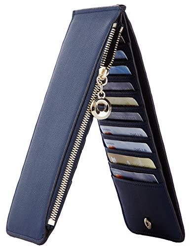 Toughergun Womens RFID Blocking Genuine Leather Multi Card Organizer Wallet with Zipper Pocket(Chic Blue Navy)