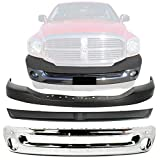 New Front Bumper Face Bar Chrome Steel + Upper Cover Textured + Filler w/o Tow Hook For 2006-2009 Dodge Ram 1500 2500 3500 Direct Replacement 55077762AA 55077946AB 55077896AC