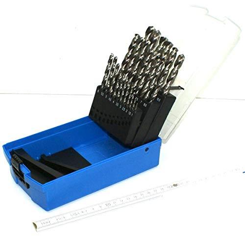 25 Stück Stahlbohrer HSS 1 bis 13 mm um 0,5 steigend. HSS-Bohrer, Eisenbohrer, Metallbohrer Set Sortiment. Bohrset, Bohrersortiment in guter Qualität im Kasten