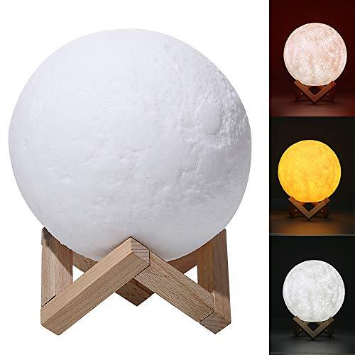 ChillHil Lampara de Luna LED 3D Moon Lamp - Recargable por USB 15cm, 3 Colores, Lamparas Infantiles (niña/niño/Bebe) de Mesa quitamiedos Nocturna, Salon, Escritorio de habitacion, baño o Cocin