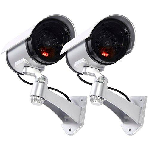 Maxesla Cámara Falsa, 2 Pieza Dummy Cámara de Seguridad Vigilancia Falsa Inalámbrico Impermeable Sistema de Vigilancia IR LED Parpadeante Fake Cámara Simulada CCTV