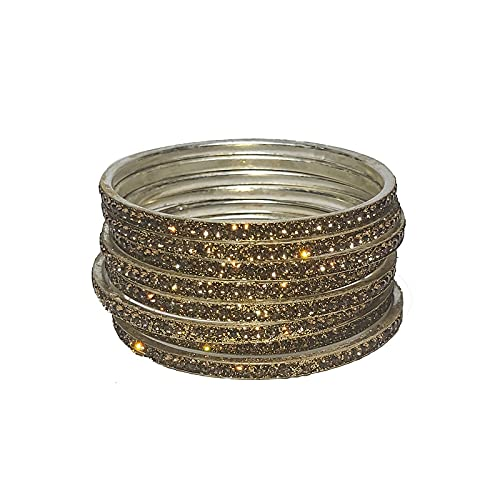 Indian Crafty Vibes Traditional Glitter Bangles Bracelets for Girls and Women Churi- Golden- Alloy
