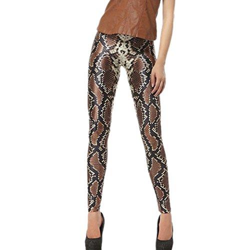 Aivtalk Moda Leggings Skinny Pantalones Lápiz Elásticos Pants para Mujer - Estampado de Escamas de Serpiente