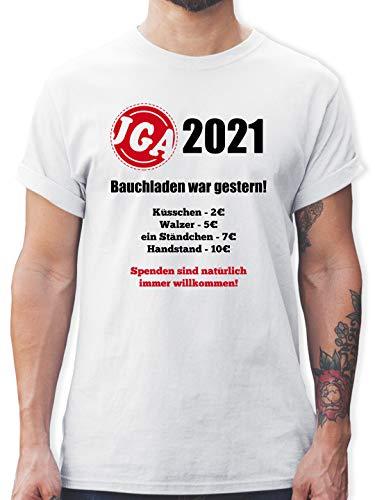 JGA Junggesellenabschied Männer - Bauchladen war gestern! 2021 - L - Weiß - junggesellenabschied männer Tshirt - L190 - Tshirt Herren und Männer T-Shirts