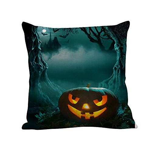 LOKODO Happy Halloween Pillow Cases Linen Cushion Cover for Chair Car Sofa Seat Bed Couch Bedroom