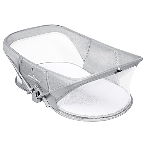 Luckydove Fold N' Go Travel Bassinet-Folding Portable Bassinet,Bassinet for Baby,Portable Bassinet with Mosquito Net,Unique Patented Design,Easy to Fold and Lightweight,Washable,Grey