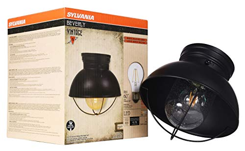Sylvania 60051 Beverly Barn Cage Light Vintage Fixture, LED, Semi-Flush Mount, Dimmable Bulb Included, Antique Black