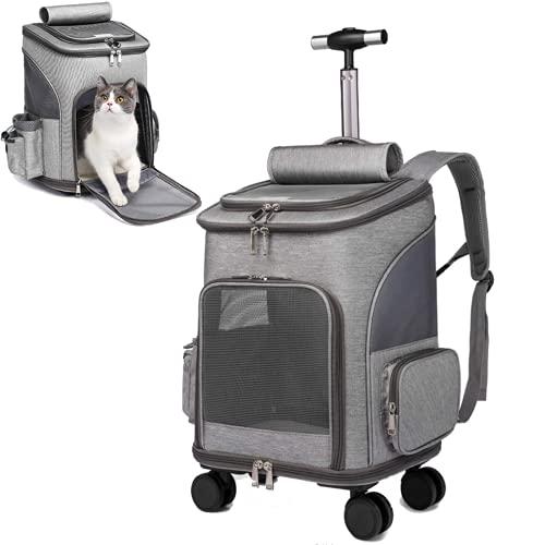 Mochila con ruedas para mascotas, carrito de viaje, asiento de coche, para perros, gatos, cachorros, mochila con cambio de ruedas, ventana de ventilación, bolsa de almacenamiento (gris)