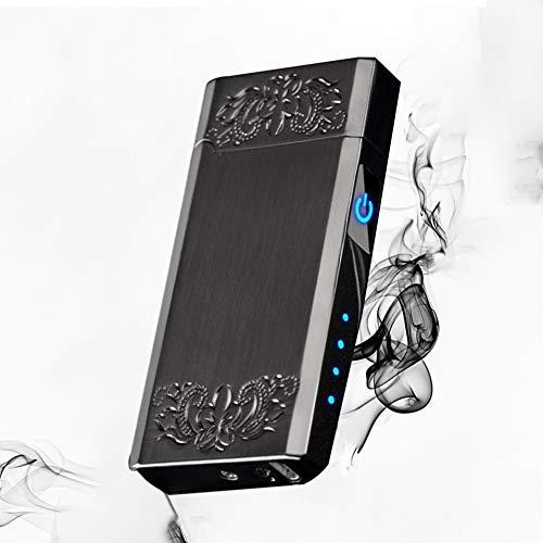 Doppelbogenfeuerzeug USB Cycle Charge Touch Induktion Mit LED Power Display Winddichtes Flammenloses Feuerzeug Für Indoor Outdoor Zigarettenanzünder,Black 2