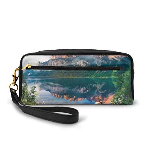 Pencil Case Pen Bag Pouch Stationary,Sunny Summer Morning on The Lake Austrian Alps Crystal Mirroring Water Fairy Season Photo,Small Makeup Bag Coin Purse