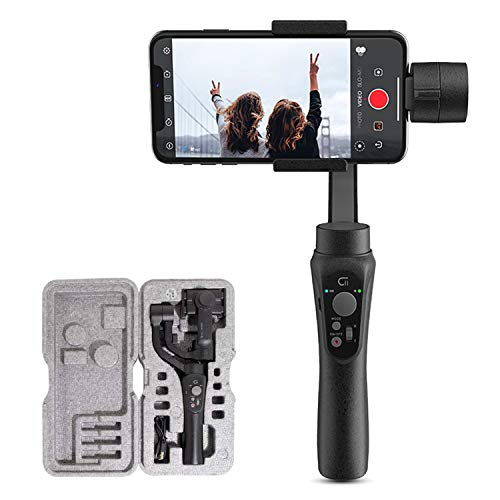CINEPEER 3-Axis Gimbal Stabilizer for iPhone X XS XR 7 6S Smartphone Vlog Youtuber Live Video Record w/Face Object Tracking Motion Time-Lapse Compatible with Gopro Hero 8/7/6/5/4 etc. Action Cameras