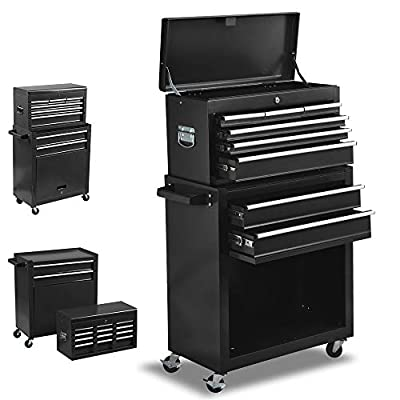8-Drawer Rolling Tool Chest, Keyed Locking System Tool Box with Sliding Drawers,High Capacity Tool Storage Cabinet on Wheels, Removable Toolbox Organizer for Workshop Garage (Black)