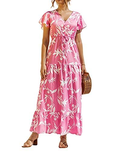 datasy Letnia sukienka damska długa sukienka lato krótki rękaw sukienki letnie sukienki maxi dla pań sukienka w kwiaty, Rosa, S