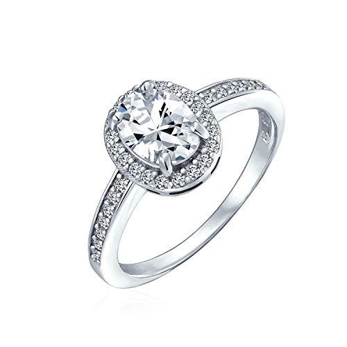 Bling Jewelry Vintage-Stil 2Ct Ovale Solitär Halo AAA Cz 925 Sterling Silber Versprechen Verlobungsring Für Frauen Dünne Pflaster Band