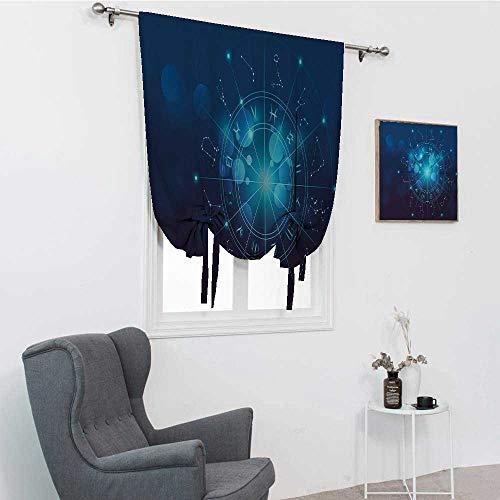 GugeABC Cortinas de astrología para dormitorio, carta de nacimiento de la fortuna signos del zodiaco en el espacio imagen geométrica globo cenefa drapeado, azul turquesa y blanco, 39 x 64 pulgadas