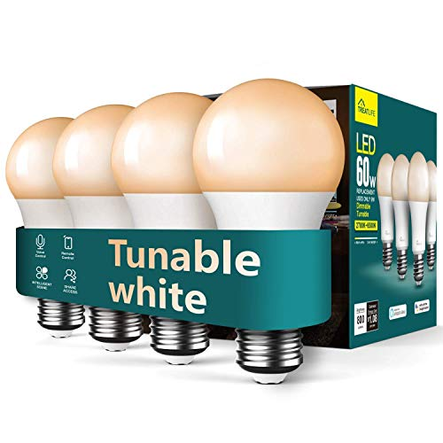 Smart Light Bulbs, Treatlife WiFi LED Light Bulb, Dimmable Smart Bulb Works with Alexa, Google Home, SmartThings, Warm White& Cool White(2700K-6500K), 2.4Ghz, 800LM, E26, A19, 9W, No Hub Required