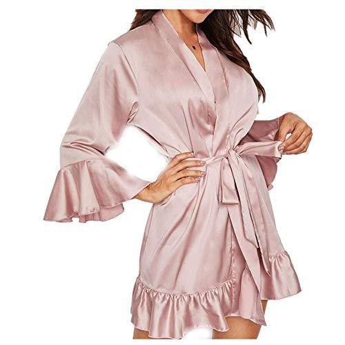 Sillor Nachthemd Damen Sexy Lange Ärmel mit Rüschen Kurzer Satin V Ausschnitt Kimono Dessous Bademantel Nachtwäsche Pyjamas Morgenmantel