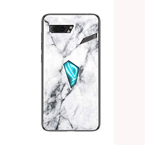 SHIEID Handyhülle für Asus Rog Phone 2 Hülle,Marmor Gehärtetem Glas und Silikon Rand Hybrid Hardcase Stoßfest Kratzfest Handyhülle Dünn Hülle Cover für Handyhülle für Asus Rog Phone 2 (Weiß)