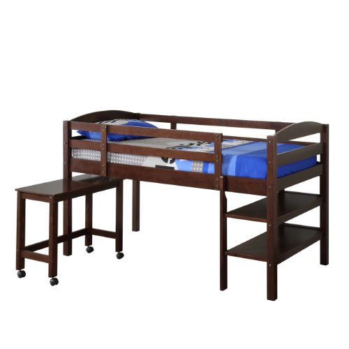 Big Sale WE Furniture Twin Wood Loft Bed with Desk, Espresso