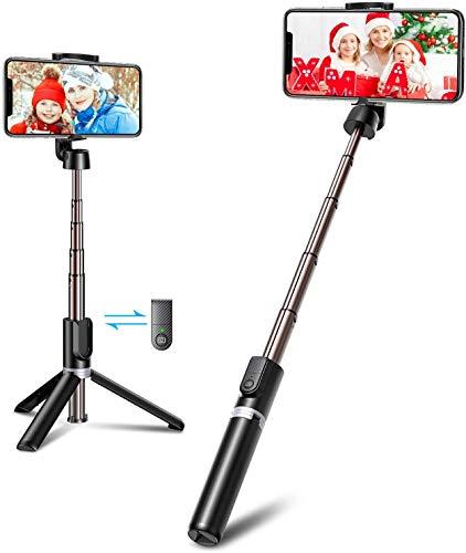 Bovon Palo Selfie Tripode Bluetooth, 3 en 1 Mini Tripode para Movil con Control Remoto, Portátil, Ligero, Selfie Stick Compatible con iPhone 12 Pro Max/12 Mini/11Pro Max/11 Pro, Galaxy S20, Huawei Más