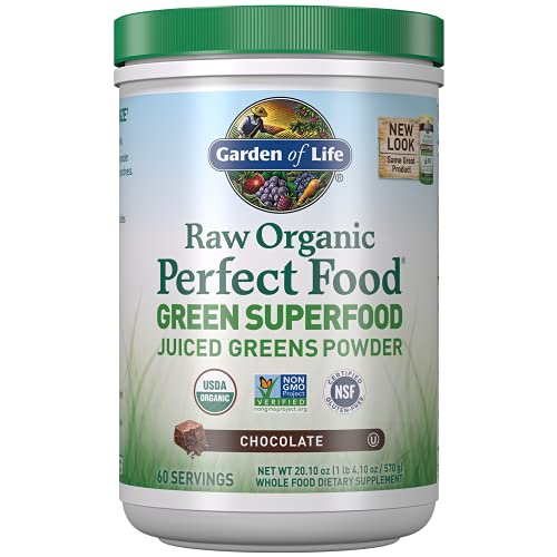 Garden of Life Raw Organic Perfect Green Superfood Juiced Powder, Non-GMO, Gluten Free, Vegan Whole Dietary Supplement, Plus Probiotics, Enzymes, Chocolate, 20.1 Oz