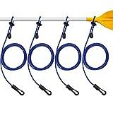 4 Guinzagli per Pagaia da Kayak Guinzaglio Regolabile per Canne da Kayak Guinzaglio da Pesca in Nylon Resistente con Fermaglio (Blu)