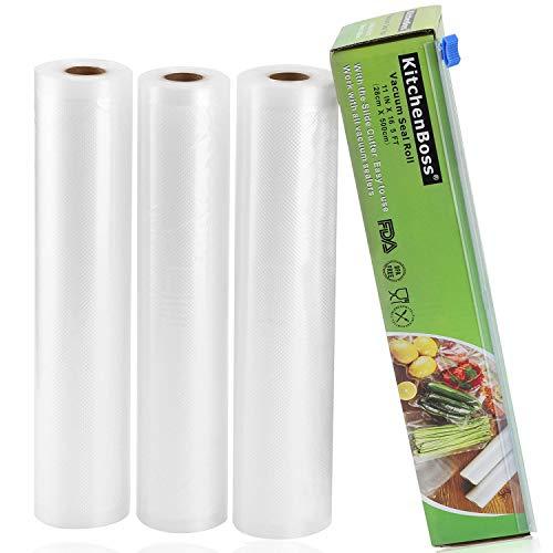 KitchenBoss Vakuumrollen mit Cutter-Box, 3 Rollen 28x500cm Folienrollen BPA-Frei für alle Vakuumierer, stark & reißfest & kochfest & wiederverwendbar für Sous Vide