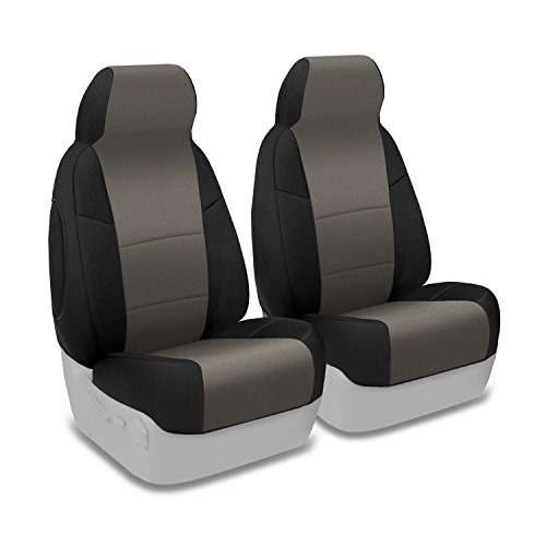 Coverking Custom Fit Front 50/50 Bucket Seat Cover for Select Toyota Tundra Models - Neosupreme (Charcoal with Black Sides)