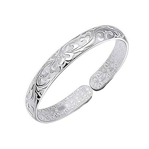 Silver Carved Flower Cuff Bracelet Floral Pattern Wide Band Adjustable Open Bangle for Women Female Elegant Valentine's Day Anniversary Birthday Wedding Paty Jewelry Gifts